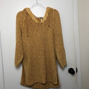 Free People Linen Blend Hooded Tunic Sweater